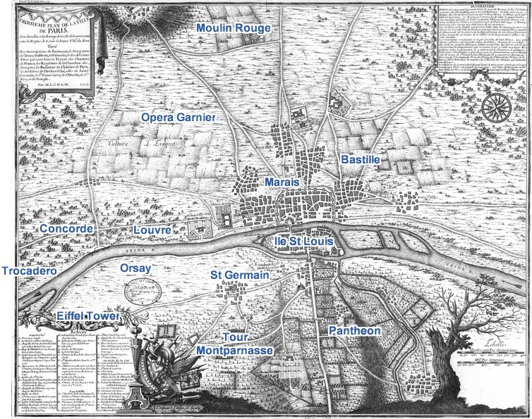 The Astonishing Map Of The Birth Of Paris - What to see in paris map